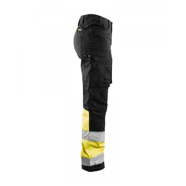 Fluo geel zwarte werkbroek high vis met stretch voor vrouwen. ISO gecertificeerd.