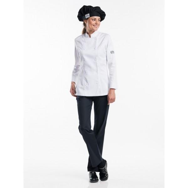 Chef jacket lady comfort wit of zwart